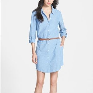 Joie Tarellia Cotton Chambray Denim Shirtdress